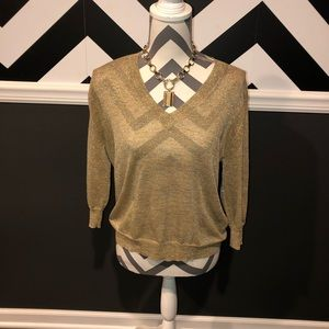 J.Crew Sparkly Metallic V-Neck Gold Top- XS